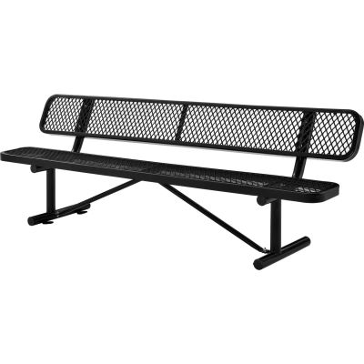 Global Industrial™ 8 ft. Outdoor Steel Bench with Backrest - Expanded Metal - Black