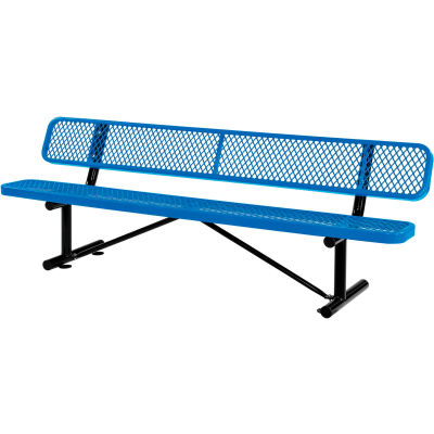 Global Industrial™ 8 ft. Outdoor Steel Bench with Backrest - Expanded Metal - Blue