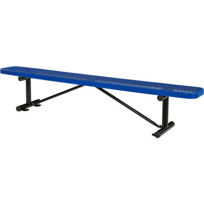 Global Industrial™ 8 ft. Outdoor Steel Flat Bench - Expanded Metal - Blue