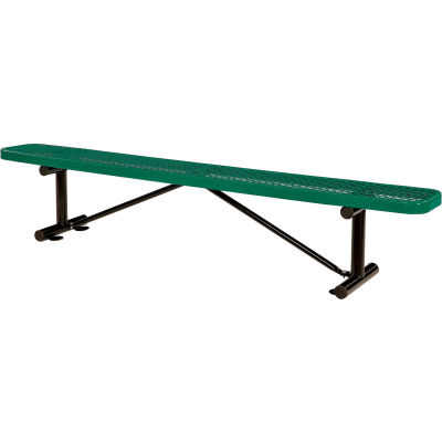 Global Industrial™ 8 ft. Outdoor Steel Flat Bench - Expanded Metal - Green
