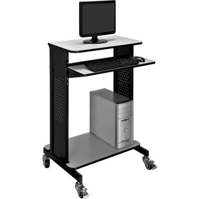 Global Industrial™ Mobile Computer Workstation & Standing Desk With Keyboard & Mouse Tray