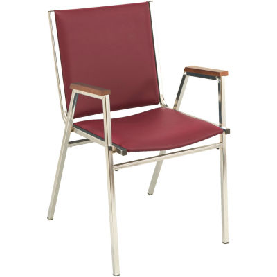 """KFI Stack Chair With Arms - Vinyl -1"""" thick Seat Burgundy Vinyl"""