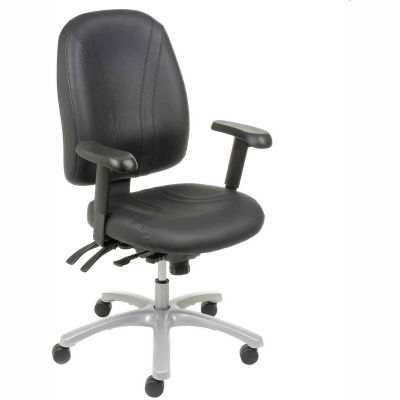 Interion® Multifunctional Office Chair with Arms - Leather - Mid Back - Black