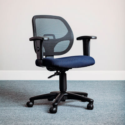 Interion® Mesh Office Chair with Arms - Fabric - Blue