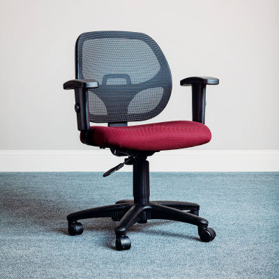Interion® Mesh Office Chair with Arms - Fabric - Red