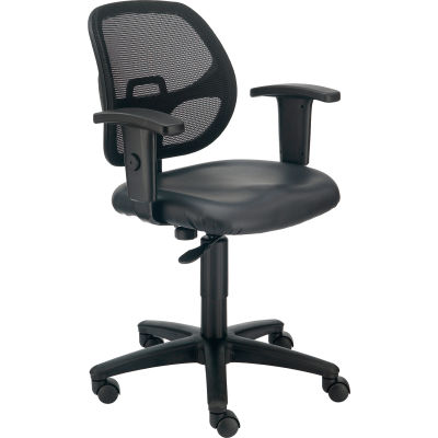 Interion® Mesh Office Chair with Arms - Vinyl - Black