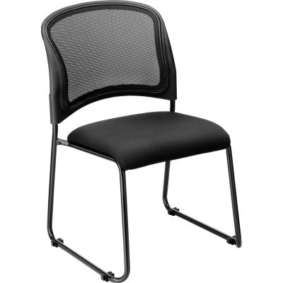 Interion® Mesh Stacking Chair - Fabric - Black - Pkg Qty 4