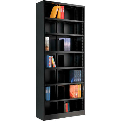 "Interion® All Steel Bookcase 36"" W x 12"" D x 84"" H Black 7 Openings"