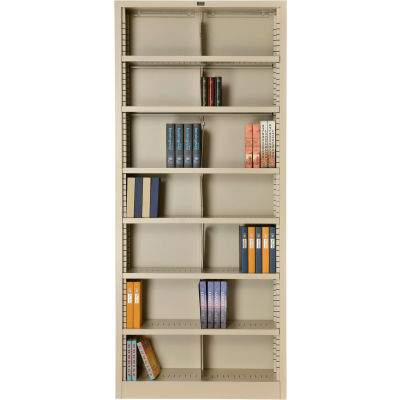 """Interion® All Steel Bookcase 36"""" W x 12"""" D x 84"""" H Putty 7 Openings"""