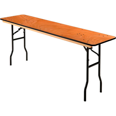 """Interion® Folding Banquet Table - 72"""" x 18"""" - Plywood"""