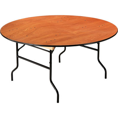 "Interion® Folding Banquet Table - 60"" Round - Plywood"