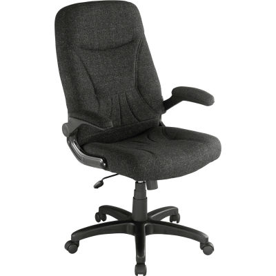 Interion® Executive Office Chair With High Back & Fixed Arms, Fabric, Black