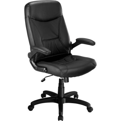 Interion® Executive Chair with Arms - Leather - High Back - Black