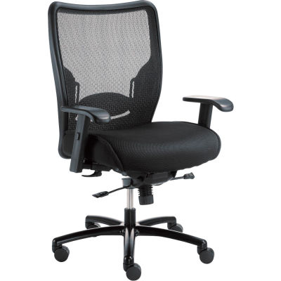 Interion® Big & Tall Mesh Chair With High Back & Adjustable Arms, Fabric, Black