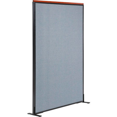 "Interion® Deluxe Freestanding Office Partition Panel, 48-1/4""W x 61-1/2""H, Blue"