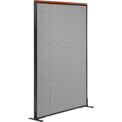 """Interion® Deluxe Freestanding Office Partition Panel, 48-1/4""""W x 61-1/2""""H, Gray"""