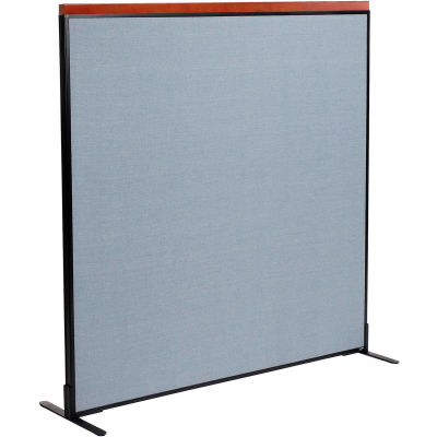 "Interion® Deluxe Freestanding Office Partition Panel, 60-1/4""W x 61-1/2""H, Blue"