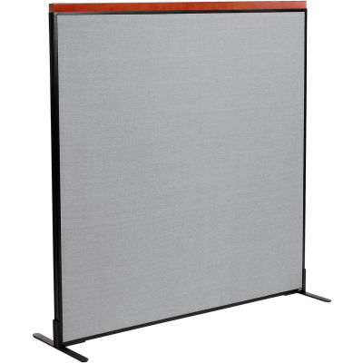 "Interion® Deluxe Freestanding Office Partition Panel, 60-1/4""W x 61-1/2""H, Gray"