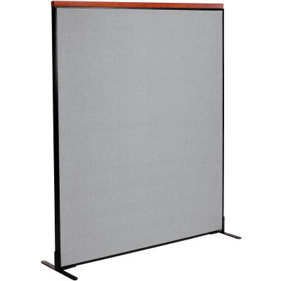 """Interion® Deluxe Freestanding Office Partition Panel, 60-1/4""""W x 73-1/2""""H, Gray"""