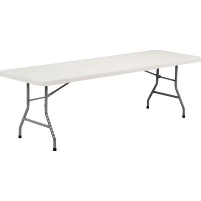 "Interion® 96"" x 30"" Plastic Folding Table - White"