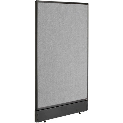 """Interion® Non-Electric Office Partition Panel with Raceway, 24-1/4""""W x 46""""H, Gray"""