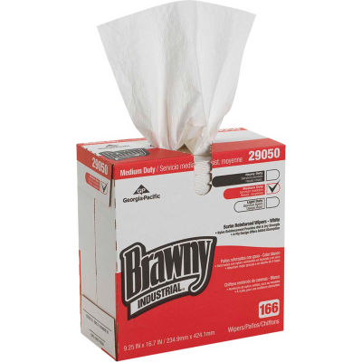 GP Brawny Industrial White 4-Ply Scrim Reinforced Paper Wipers, 166 Sheets/Box 5 Boxes/Case-29050/03