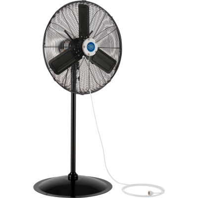 "Global Industrial™ 24"" Pedestal Misting Fan - Outdoor Rated - Oscillating - 7700 CFM - 3/10 HP"