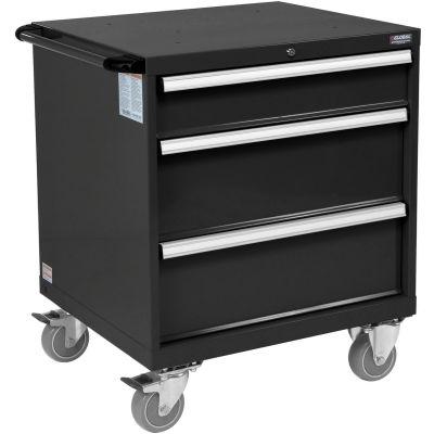 Global Industrial™ Mobile Modular Drawer Cabinet, 3 Drawers, w/Lock, 30x27x29-1/2, Black