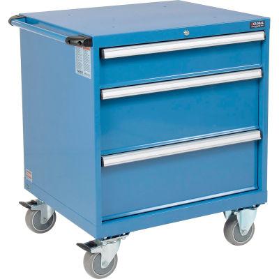 Global Industrial™ Mobile Modular Drawer Cabinet, 3 Drawers, w/Lock, 30x27x36-7/10, Blue