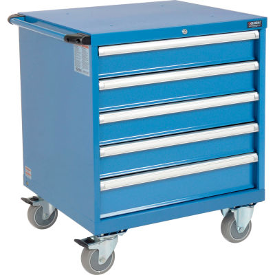 Global Industrial™ Mobile Modular Drawer Cabinet 5 Drawers w/Lock no Dividers 30x27x36-7/10 BL