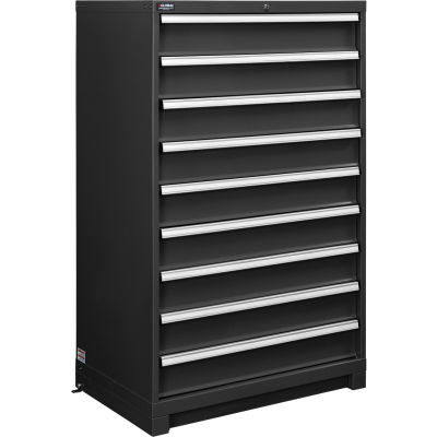 """Global Industrial™ Modular Drawer Cabinet, 9 Drawers, w/Lock, w/o Dividers, 36""""Wx24""""Dx57""""H BLK"""
