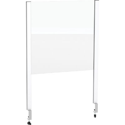 """Global Industrial™ Cashier Shield 24""""L x 24""""H, With Clamp On Base, Silver"""