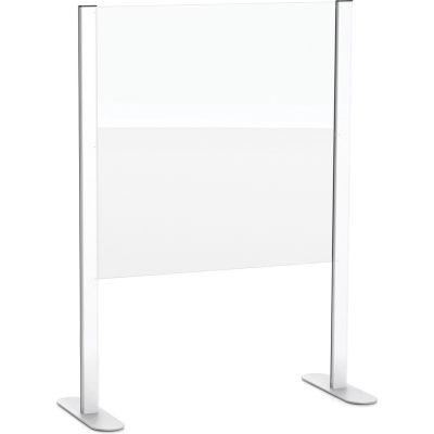 """Global Industrial™ Cashier Shield 48""""L X 36""""H, With Racetrack Base, Silver"""