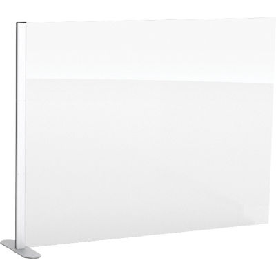 """Global Industrial™ Cashier Shield 48""""L x 36""""H Add-On, With Center Racetrack Base, Silver"""