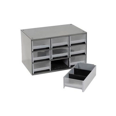 "Akro-Mils Steel Small Parts Storage Cabinet 19909 - 17""W x 11""D x 11""H w/ 9 Gray Drawers"