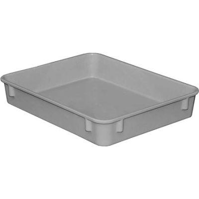 "Molded Fiberglass Toteline Nesting Tote 930108 - 12-3/8""L x 9-3/4""W x 2-1/8""H, Gray - Pkg Qty 4"