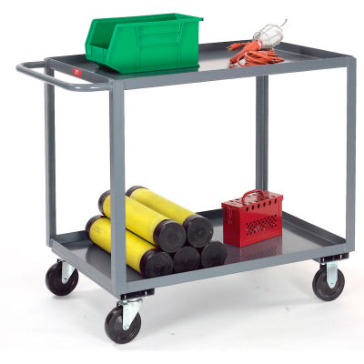 Gray All Welded 2 Shelf Stock Cart 60x30 1200 Lb. Capacity