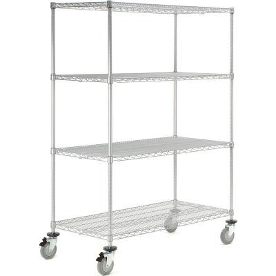 Nexelate Wire Shelf Truck 60x24x80 1200 Pound Capacity With Brakes