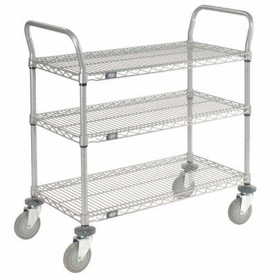 "Nexel® Utility Cart, 3 Shelf, Nexelate® , 48""L x 24""W x 39""H, Polyurethane Casters"