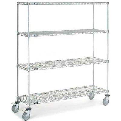 Nexel® Chrome Wire Shelf Truck 60x18x69 1200 Pound Capacity with Brakes