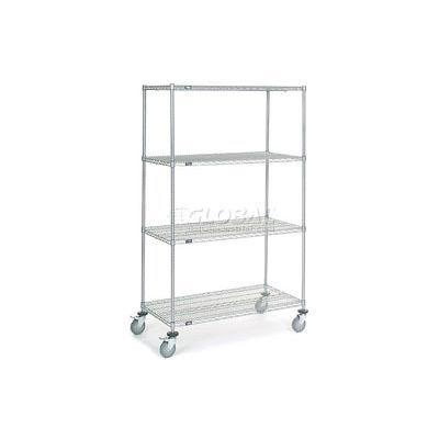 Nexel® Chrome Wire Shelf Truck 48x24x80 1200 Pound Capacity with Brakes