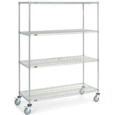 Nexel® Chrome Wire Shelf Truck 60x24x80 1200 Pound Capacity with Brakes