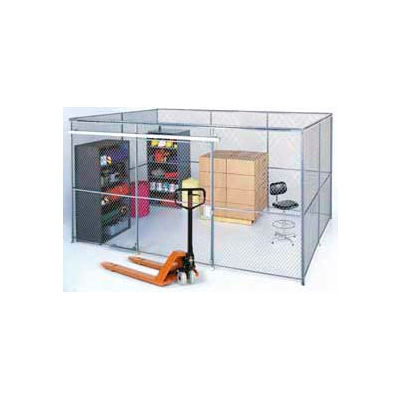 Wire Mesh Partition Security Room 20x15x8 with Roof - 3 Sides