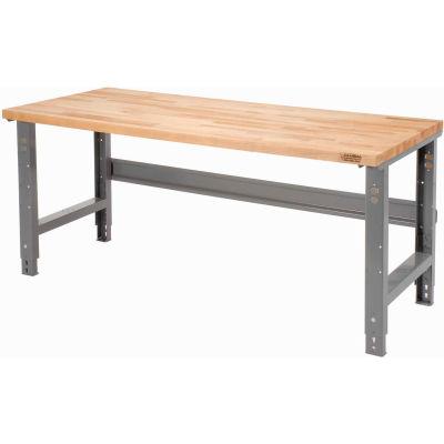 "60""W x 30""D Adjustable Height Workbench C-Channel Leg - Maple Butcher Block Square Edge - Gray"