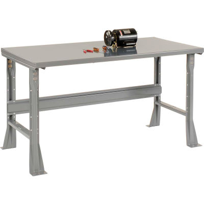 "72""W x 30""D x 34""H Fixed Height Workbench C-Channel Flared Leg - Steel Square Edge - Gray"