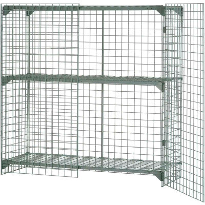 """Global Industrial™ Wire Mesh Security Cage Locker, 72""""Wx36""""Dx60""""H, Gray, Unassembled"""