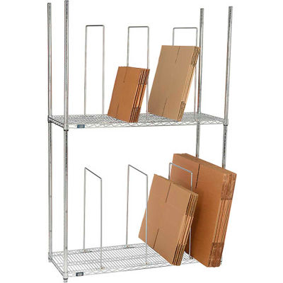 """Global Industrial™ Dual Level Carton Stand with 6 Dividers, 48""""L x 18""""W x 78-1/2""""H, Chrome"""