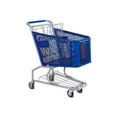 VersaCart® Blue Plastic Shopping Cart 3.5 Cu. Foot Capacity 102-085-DBL-BH