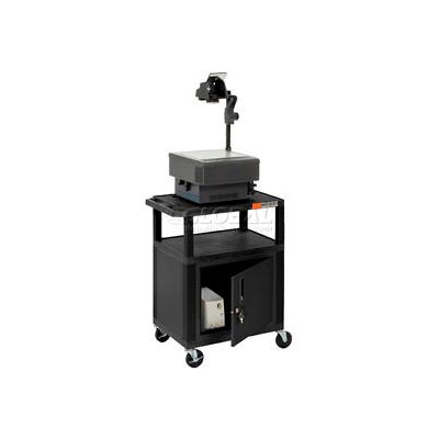Plastic Utility Cart 3 Shelves Black With Security Cabinet
