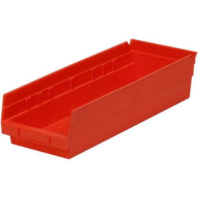 "Global Industrial™ Plastic Nesting Storage Shelf Bin 6-5/8""W x 17-7/8""D x 4""H Red - Pkg Qty 12"